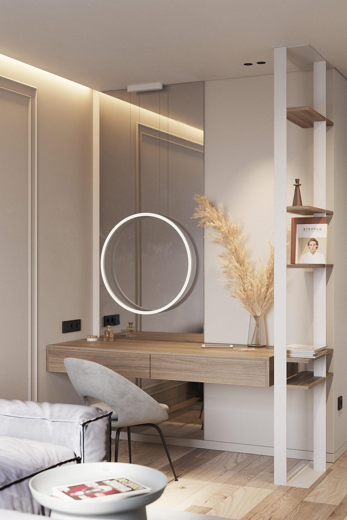 góc trang điểm với bàn ghế gỗ, gương tròn gắn tường kết hợp đèn LED