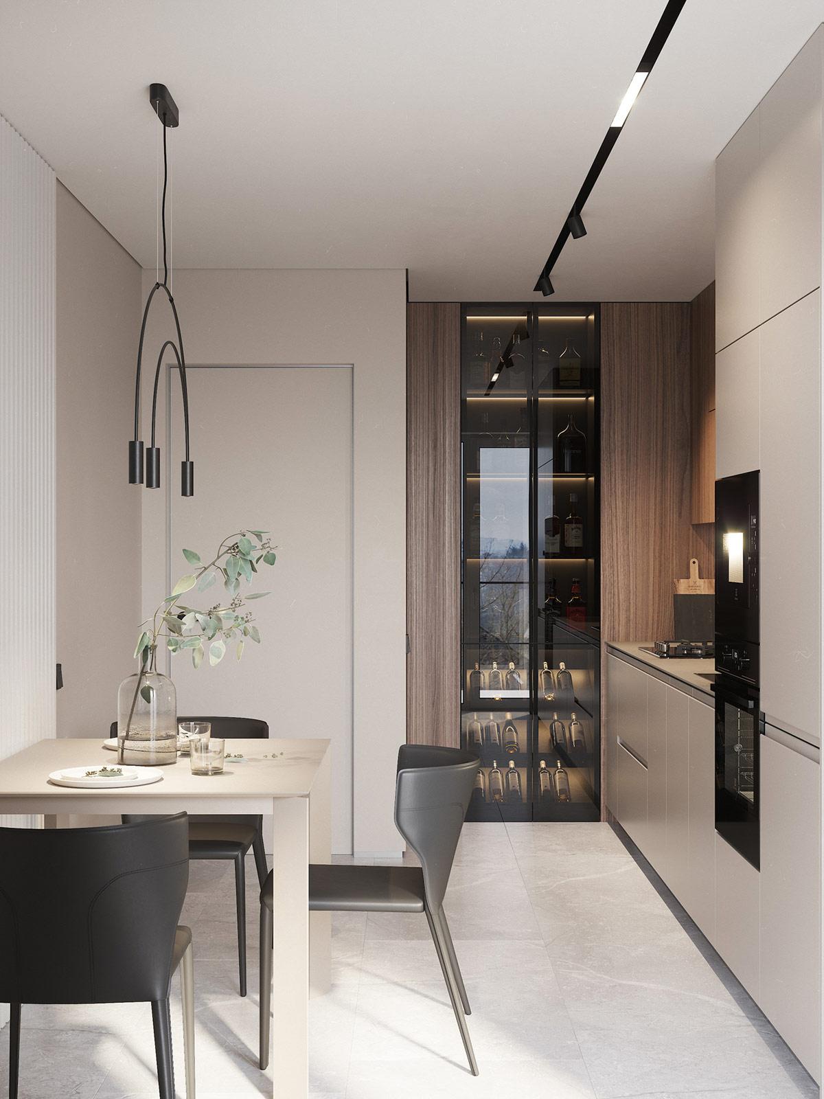 Trong gian bếp, tủ đựng rượu với thiết kế bóng bẩy tạo điểm nhấn hút mắt.