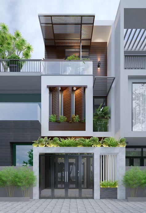 hình ảnh phối cảnh mẫu nhà 3 tầng hiện đại với cây xanh trồng ở ban công, sân thượng, lam gỗ che