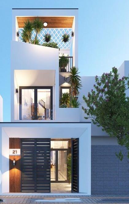 hình ảnh mẫu nhà 3 tầng tầng màu trắng, cây xanh ở ban công, hành lang, sân thượng