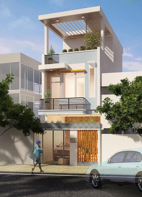 phối cảnh nhà 3 tầng ven đường lớn, vỉa hè, cây xanh, người qua lại, ô tô
