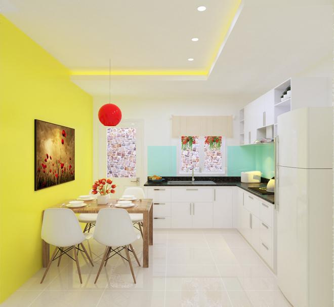 Các mảng tường rực rỡ sắc phòng tạo điểm nhấn ấn tượng cho không gian phòng bếp kết hợp phòng ăn phong cách hiện đại.