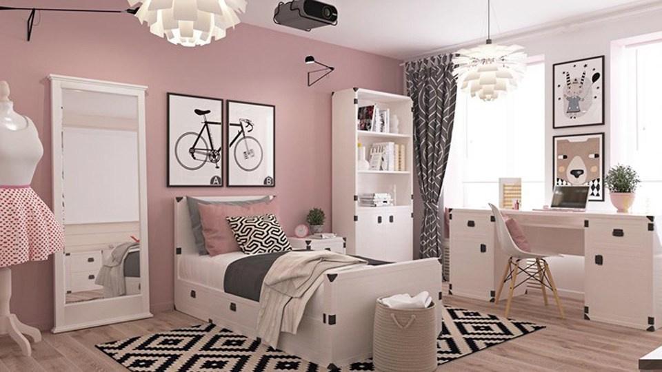 Mẫu thiết kế phòng ngủ đẹp tinh tế cho cô con gái với mảng tường màu hồng pastel dịu ngọt kết hợp cùng sắc trắng, nhấn nhá màu đen sinh động.