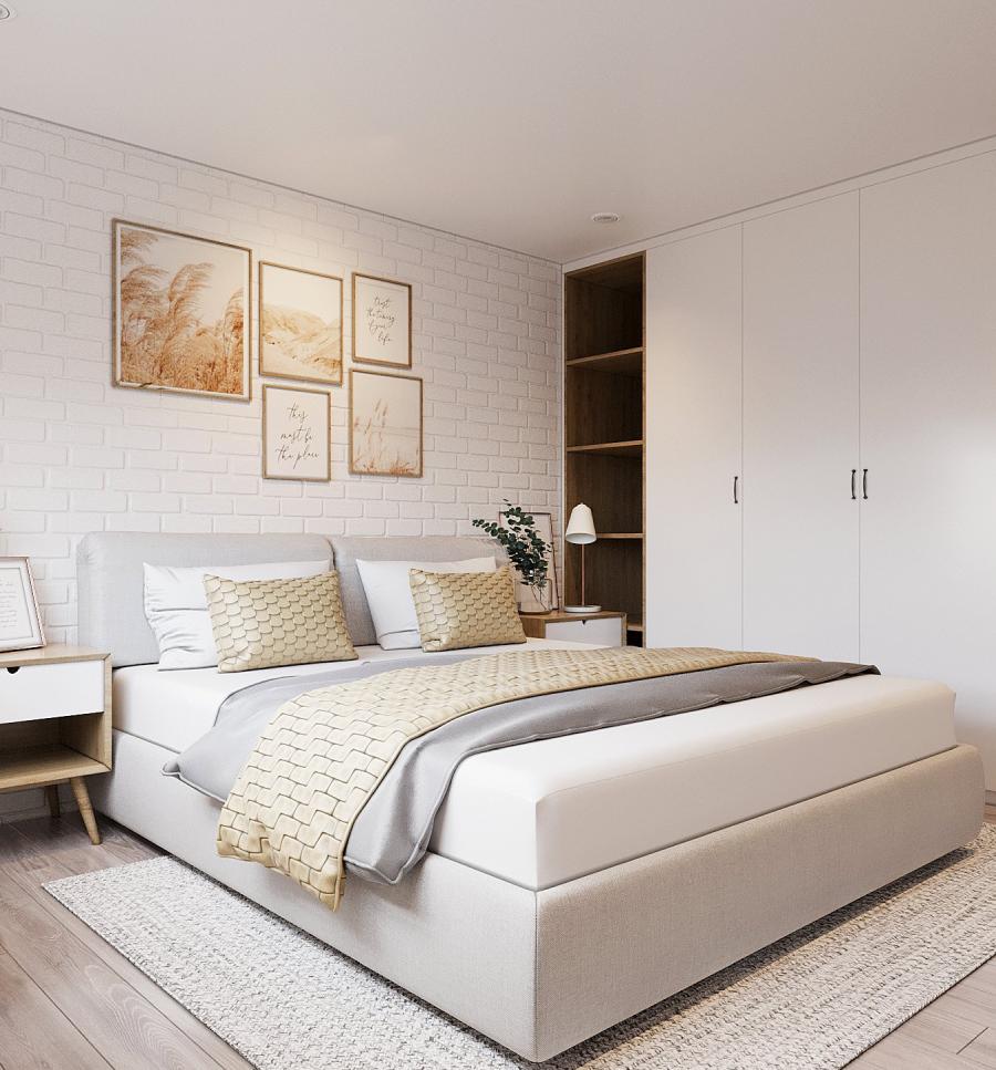 Thiết kế nội thất phòng ngủ nhỏ đậm chất Scandinavian với sắc trắng xám chủ đạo. Tủ quần áo màu trắng âm tường như hòa lẫn vào không gian.