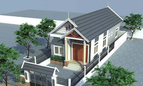 hình ảnh phối cảnh 3D mẫu nhà cấp 4 mái Thái hiện đại