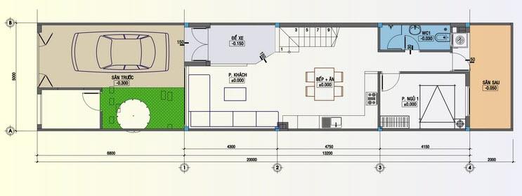 Mặt bằng thiết kế tầng 1 nhà ống