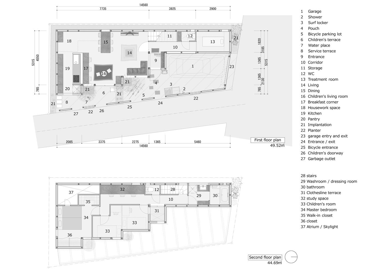 Mặt bằng bố trí nội thất các tầng nhà