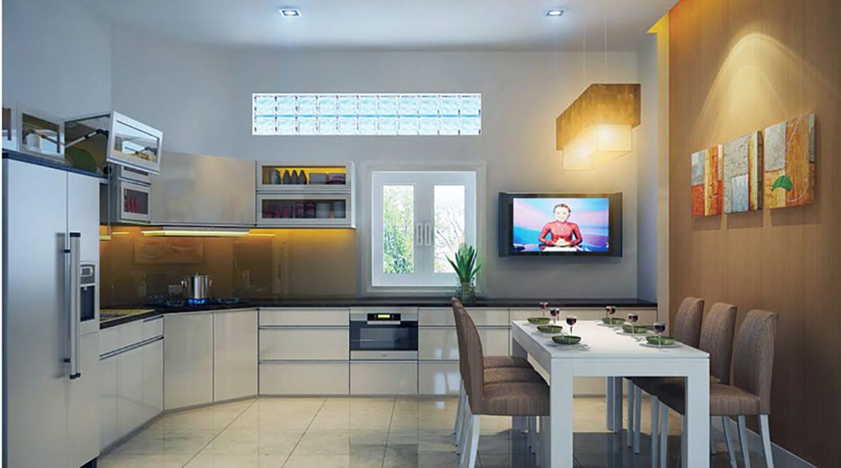 hình ảnh phòng bếp kết hợp phòng ăn thoáng sáng với những điểm nhấn màu vàng ấm áp