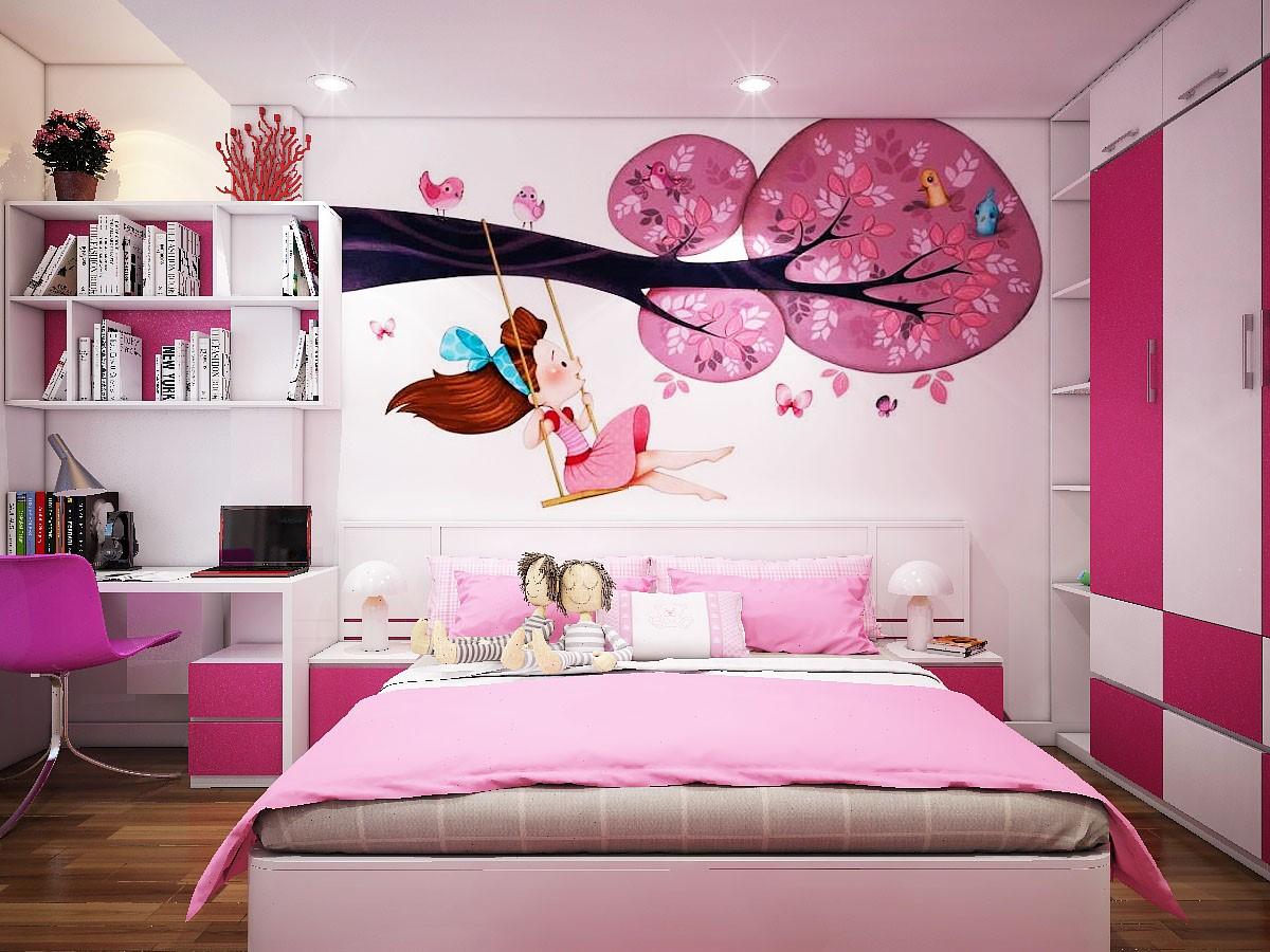 hình ảnh phòng ngủ cho con gái với tông màu hồng, trắng nhẹ nhàng, tường đầu giường dán ảnh cô gái chơi xích đu