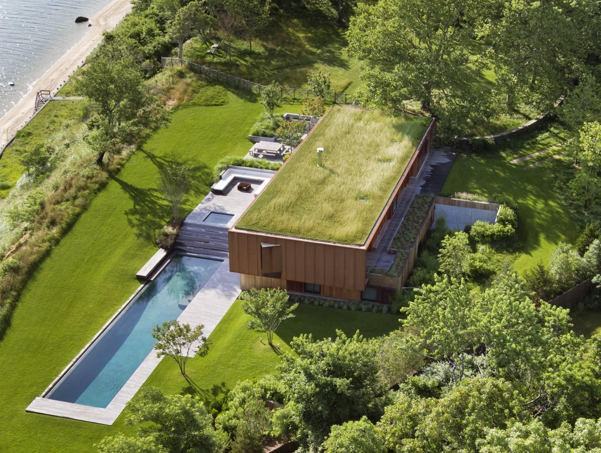 hình ảnh biệt thự với mái nhà phủ kín cỏ xanh