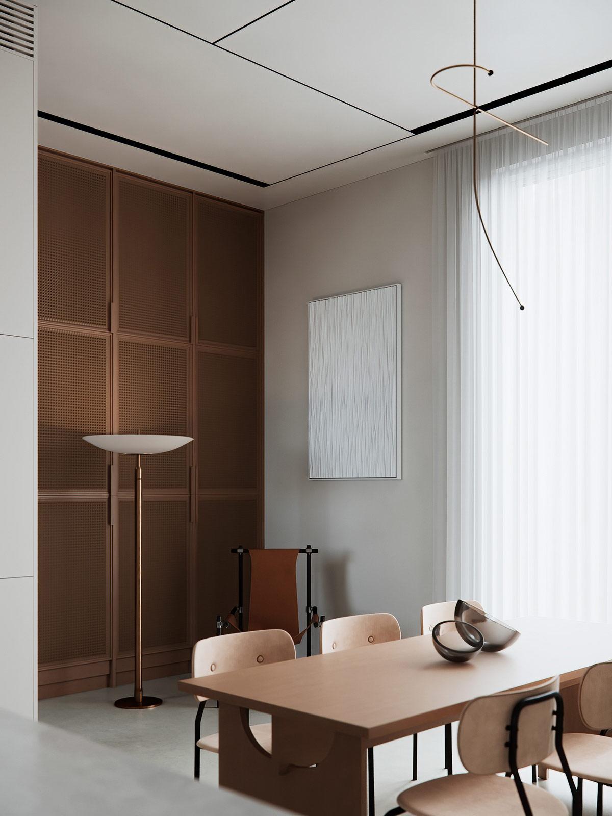 hình ảnh một góc phòng ăn với bàn ghế ăn và tủ gỗ phía sau đèn sàn