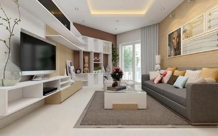 hình ảnh phòng khách nhà ống 4 tầng với sofa ghi, tường trắng, kệ tivi, cửa kính trong suốt