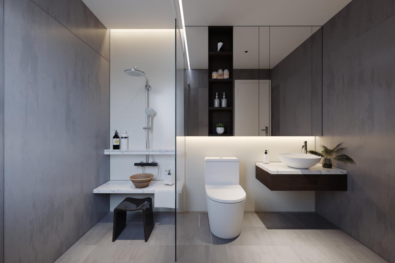 Trong nhà ống 2 tầng hiện đại, phòng tắm - vệ sinh được phân tách bởi vách kính trong suốt, đảm bảo sự riêng tư và khô thoáng cho không gian chức năng này.
