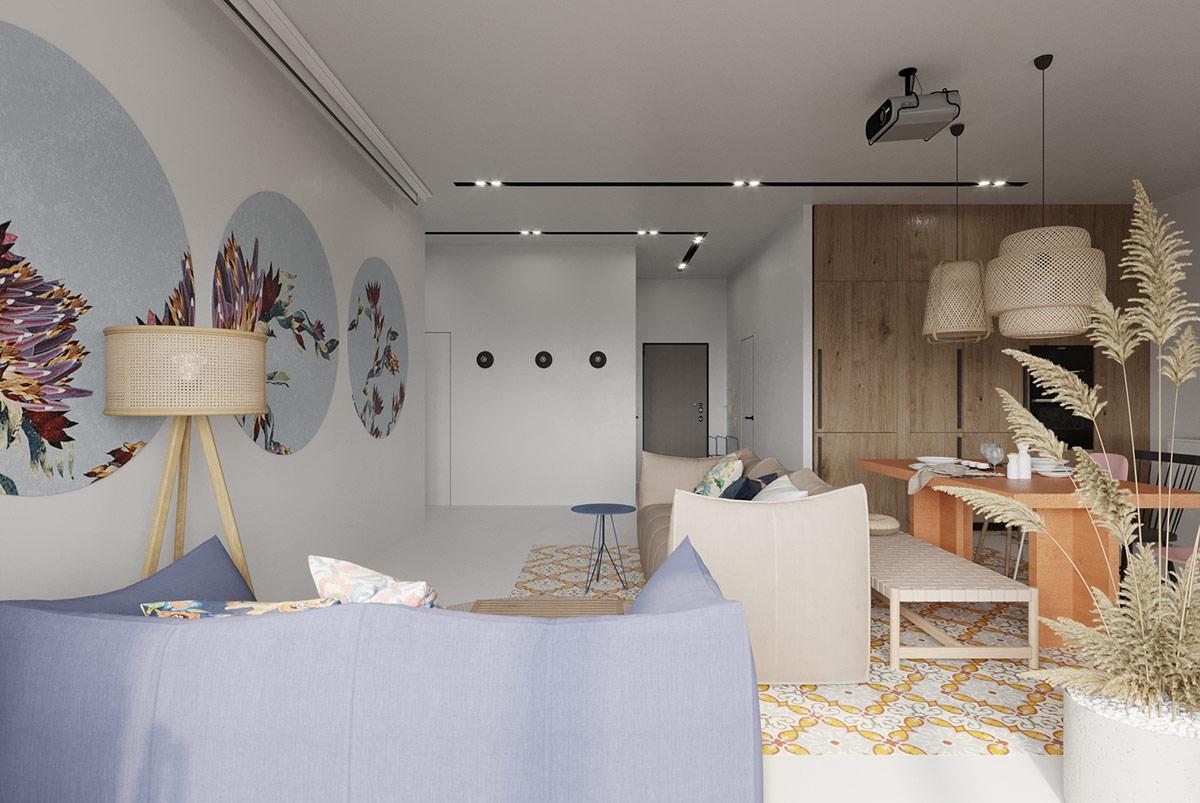 hình ảnh toàn cảnh phòng khách, khu bếp ăn trong căn hộ màu trung tính