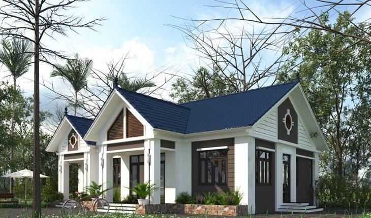 Phối cảnh 3D mẫu nhà vườn 1 tầng hiện đại với mái ngói màu xanh dương mát mắt.