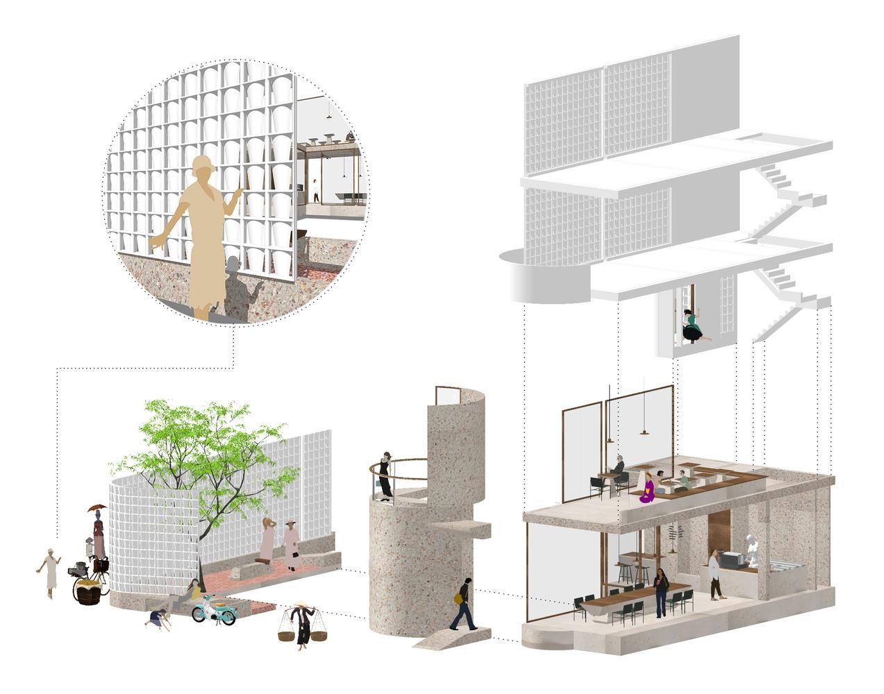 Phối cảnh kiến trúc quán cà phê Danshari
