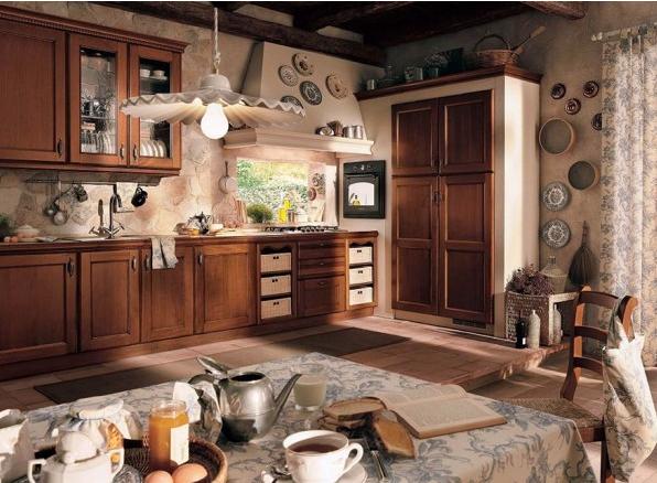 hình ảnh phòng bếp tông màu nâu trầm chủ đạo, tủ bếp bằng gỗ, bàn ăn, đèn thả sợi đốt