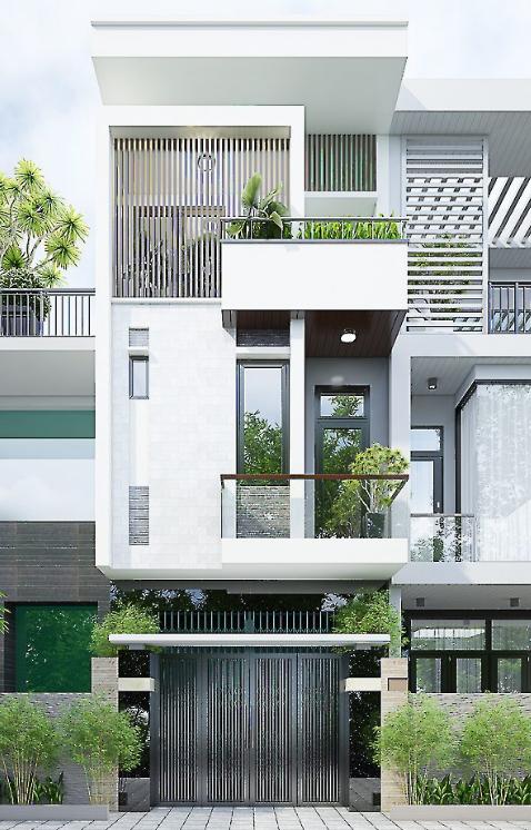 Phối cảnh 3D mẫu nhà phố hiện đại đã được hoàn thiện chỉn chu.