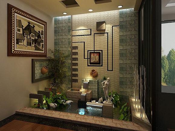 Tiểu cảnh trong nhà góp phần điều hòa không khí, tạo cảm giác thư giãn, mát mẻ.