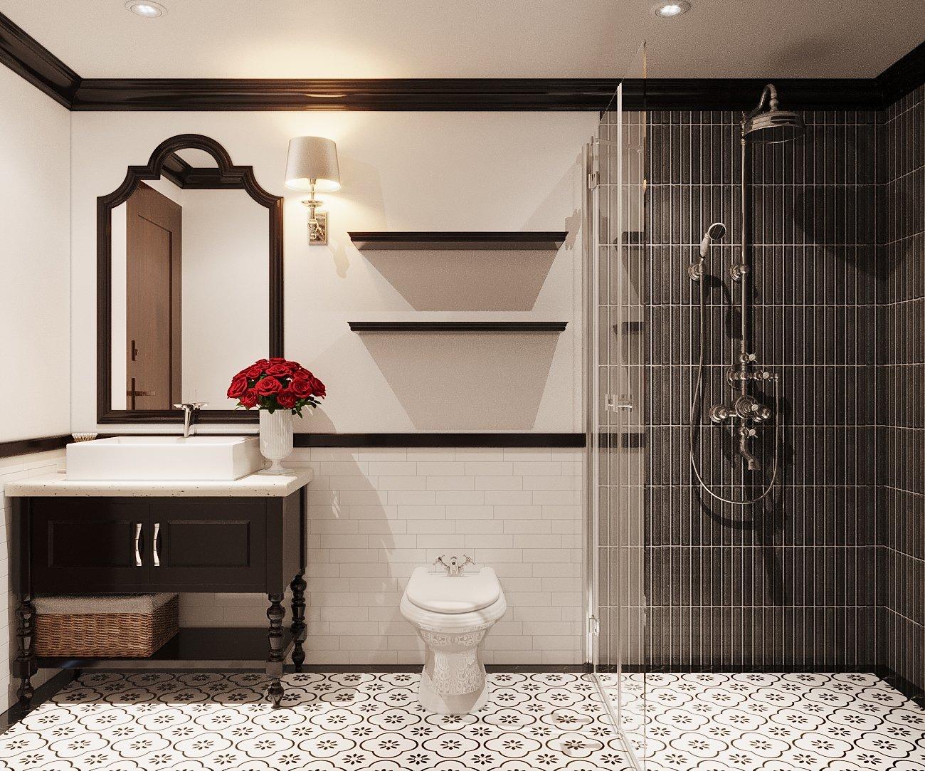 Phòng tắm - vệ sinh trong căn hộ 64m2 phong cách Indochine được thiết kế với hai tông màu trắng - đen chủ đạo sang trọng