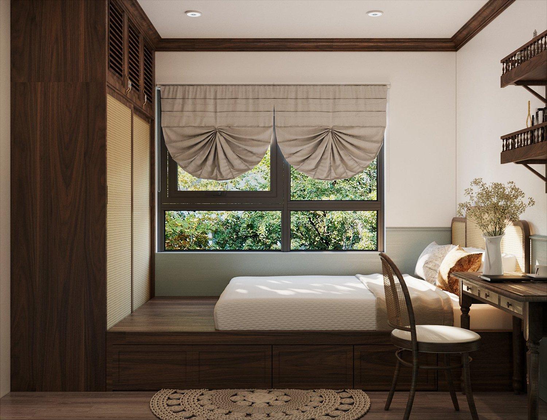 Kiến trúc sư thiết kế nội thất phòng ngủ với giường khối hộp đồng bộ với tủ quần áo cao kịch trần, vừa tiện nghi, vừa tiết kiệm diện tích.