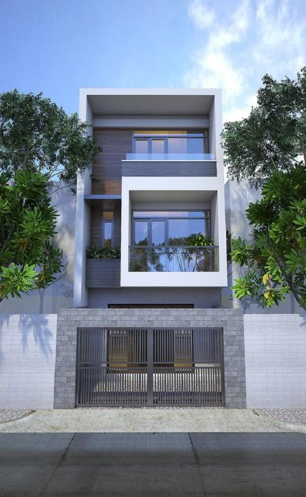 phối cảnh ngôi nhà hiện đại với gạch ốp tường ngoài trời màu xám nhạt
