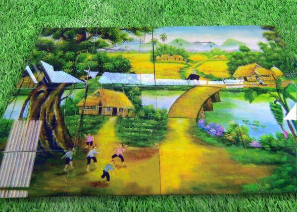 Mẫu gạch tranh 3D phong cảnh làng quê yên bình.