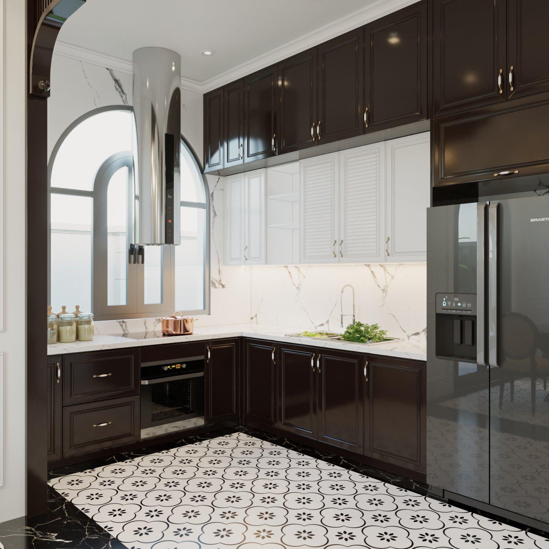Chất liệu, màu sắc phối kết hài hòa mang lại vẻ đẹp vừa sang trọng, vừa ấm cúng cho không gian phòng bếp biệt thự phong cách Indochine.