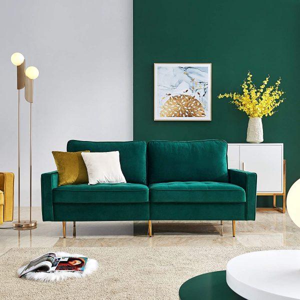 Ghế sofa nhỏ màu xanh ngọc lục bảo kết hợp chân kim loại màu vàng sang trọng