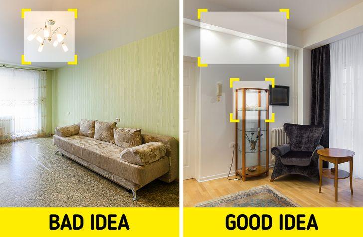 hình ảnh minh họa cho việc bố trí ánh sáng cho căn hộ nhỏ