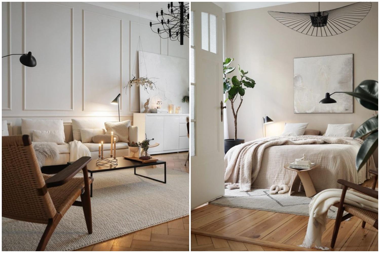 hình ảnh phòng khách và phòng ngủ phong cách tối giản, màu trắng sáng chủ đạo