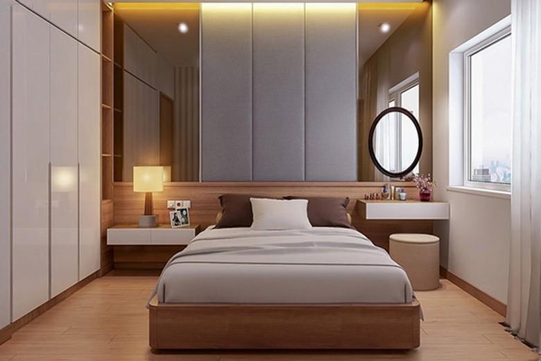 phòng ngủ master của vợ chồng gia chủ với tông màu trung tính chủ đạo