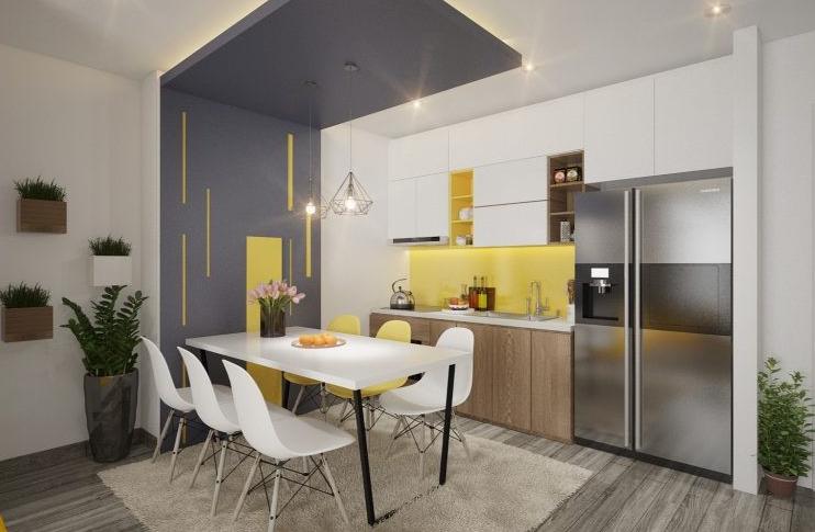 Khu bếp - ăn xinh tươi với những điểm nhấn màu vàng chanh nổi bật. Bộ bàn ăn 6 ghế kiểu dáng thanh mảnh đặt gọn gàng trên thảm trải màu trắng ngà thanh lịch.