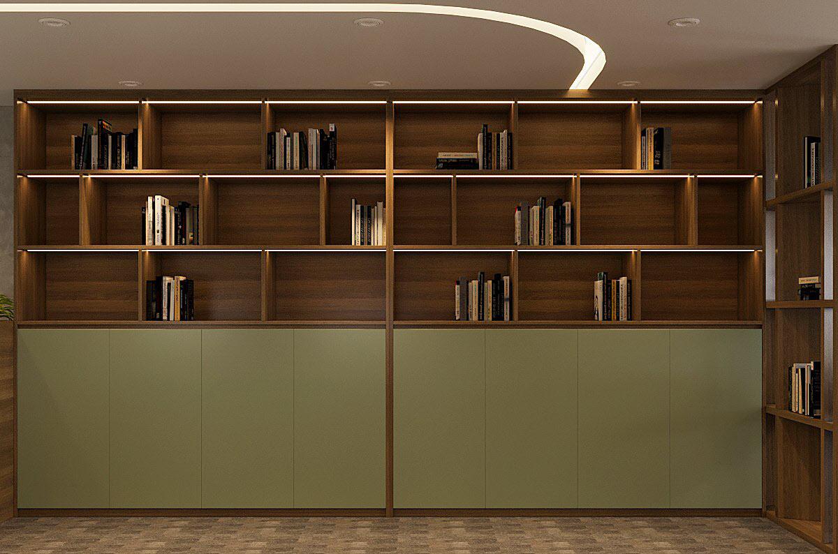 Thư phòng với tủ sách cao kịch trần làm bằng gỗ óc chó.