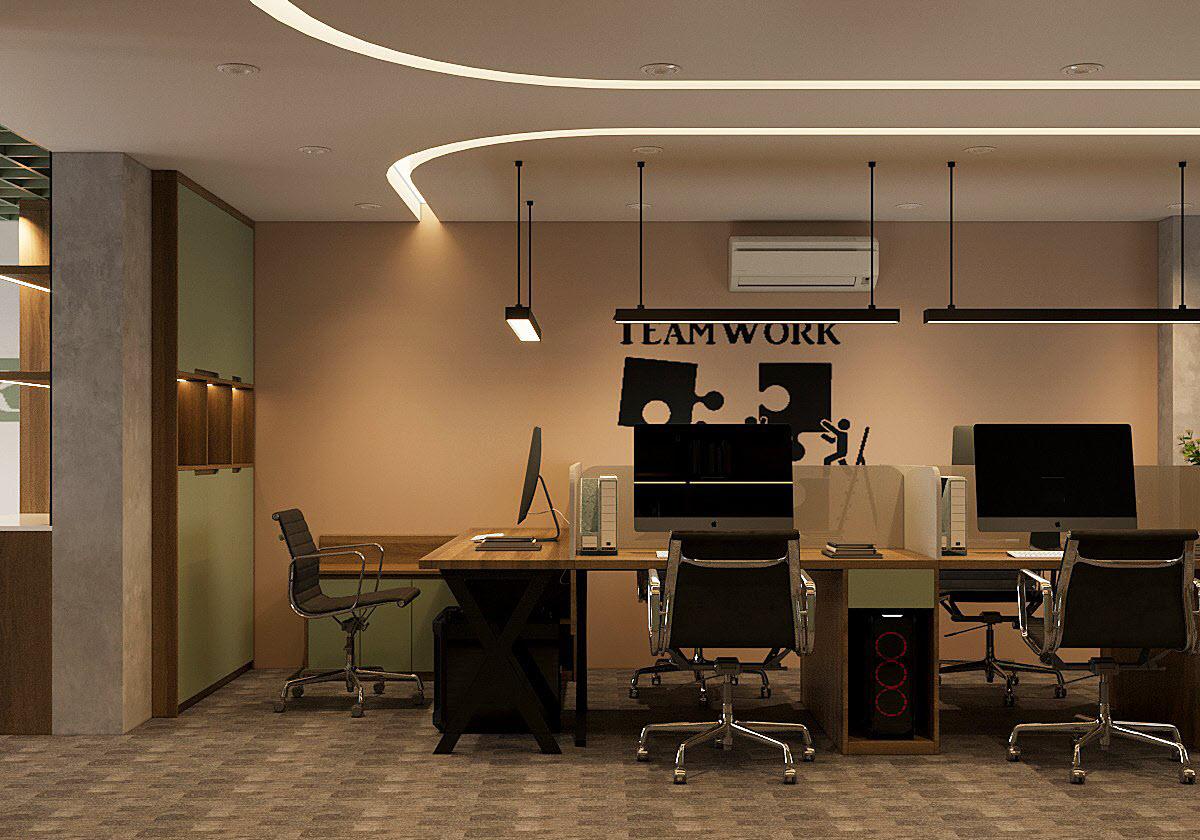 Sơn tường màu xanh bạc hà kết hợp hài hòa với nội thất gỗ óc chó và mảng tường nhấn màu cà phê nhẹ nhàng tạo cảm giác ấm áp, thân thiện cho khu vực làm việc của nhân viên.