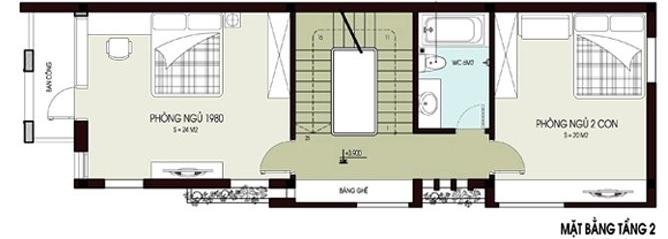 Mặt bằng bố trí nội thất tầng 2 nhà ống