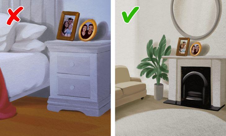 hình ảnh phòng ngủ với giường nệm êm ái, cạnh đó là tủ ngăn kéo, trên tủ đặt ảnh gia đình