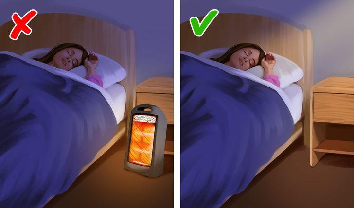 hình ảnh minh họa cho việc không nên để máy sưởi cả đêm trong phòng ngủ