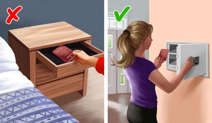 hình ảnh hộ chiếu để trong tủ ngăn kéo đầu giường và trong két sắt an toàn