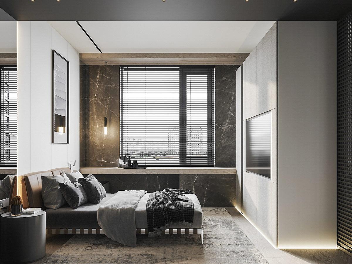 Đèn mặt dây chuyền phòng ngủ chiếu xuống bàn dài gắn tường, làm nổi bật vẻ đẹp tự nhiên của tường đá cẩm thạch.