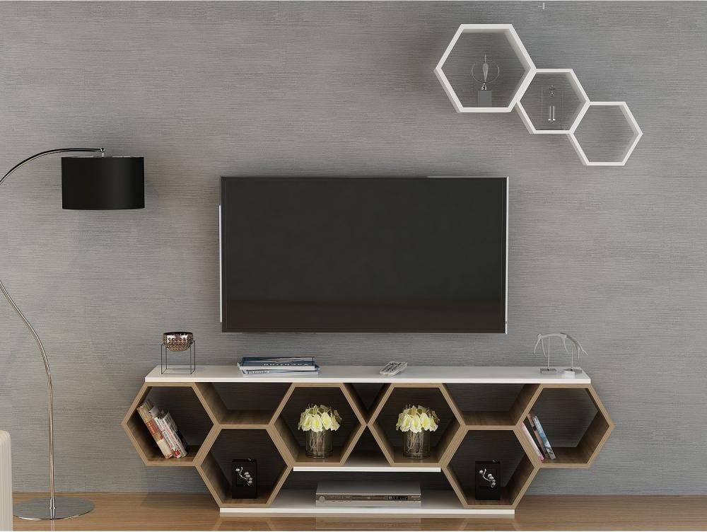 Kệ tivi đẹp mô phỏng hình dáng tổ ong mang đến cái nhìn độc đáo cho phòng khách.