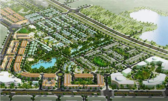 phối cảnh tổng thể một dự án khu đô thị sinh thái nhìn từ trên cao