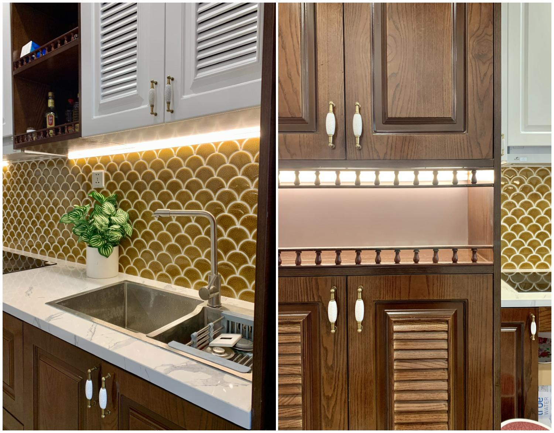 Nội thất căn hộ nhỏ kết hợp giữa gỗ sồi tự nhiên và gỗ MFC lõi xanh chống ẩm.