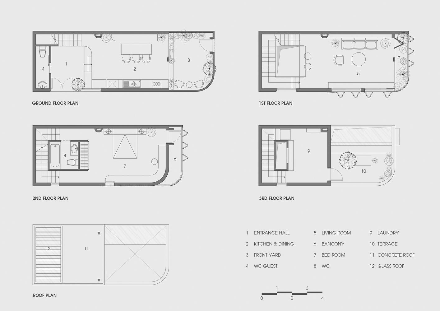 Mặt bằng thiết kế các tầng nhà