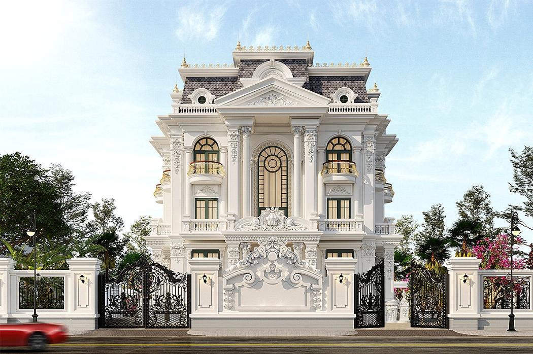 Mẫu biệt thự đẹp phong cách tân cổ điển sang trọng.