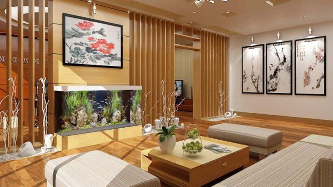 phòng khách với lam gỗ, sàn gỗ, tranh tường trang trí phong cách Á Đông