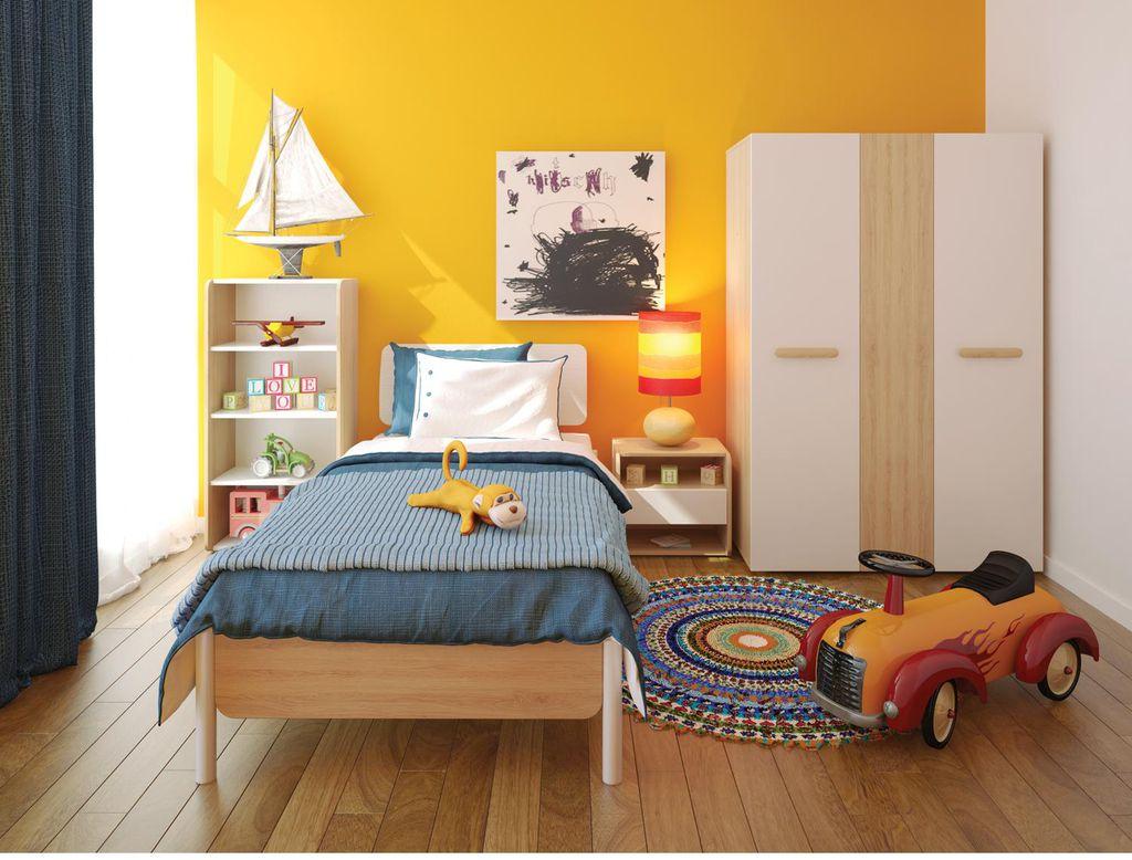 Phòng ngủ con trai với sắc màu tươi tắn, năng động.