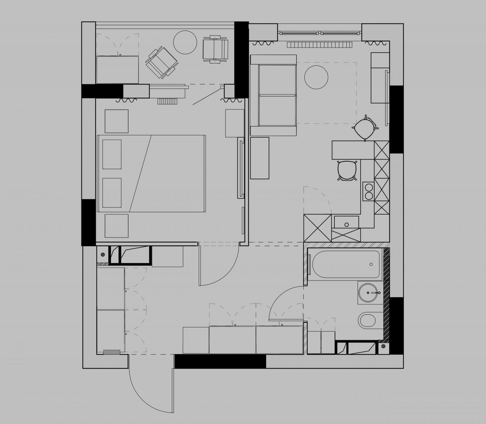 Sơ đồ bố trí nội thất căn hộ 39m2