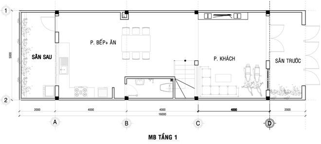 Mặt bằng bố trí nội thất tầng 1 nhà ống hiện đại
