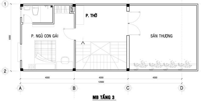 Mặt bằng bố trí nội thất tầng 3 nhà ống